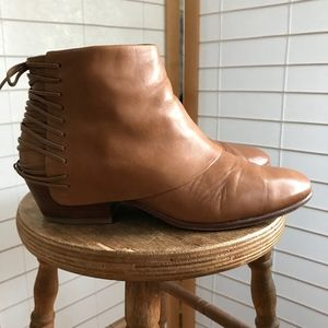 Sam Edelman tan leather ankle boots fold over cuff